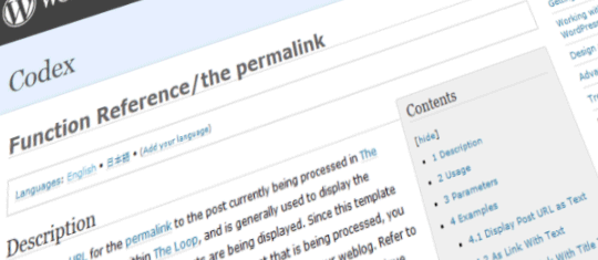 The permalink from Wordpress CODEX